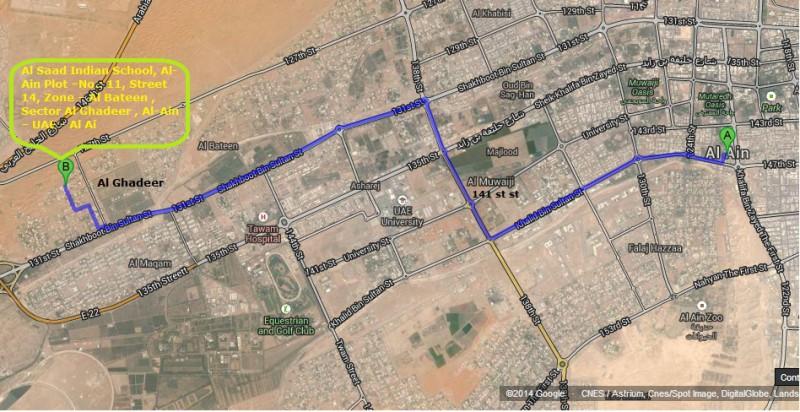 Location On Map Al Saad Indian School Al Ain - Al ain map